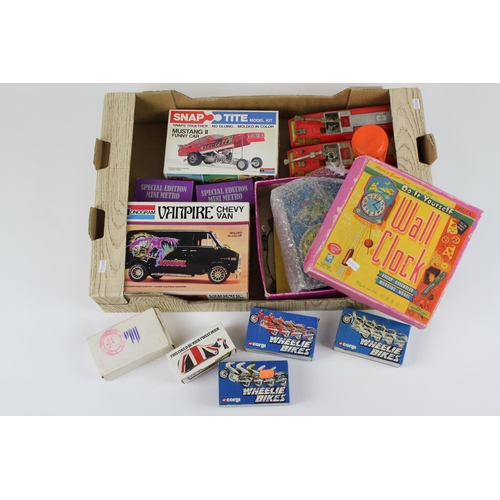 8 - A Tray of Toys to include: Kits (Partly Made), Boxed Corgi Models, 2 unboxed Fire Engines, etc....