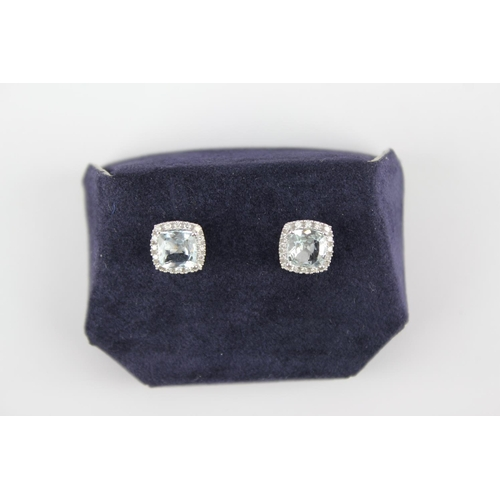 157 - A Pair of Aquamarine & Diamond Chip Earrings mounted in 9ct White Gold in original box....