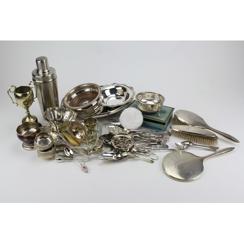 122 - A quantity of Silver Plate to include a swing handled dish, coasters, cutlery, silver spoons, silver...