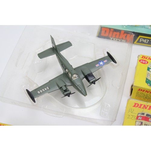 18 - 3 X Dinky Planes to include a Boxed 734 P47 Thunerbolt, a Boxed 722 Hawker Harrier & a part boxed US...