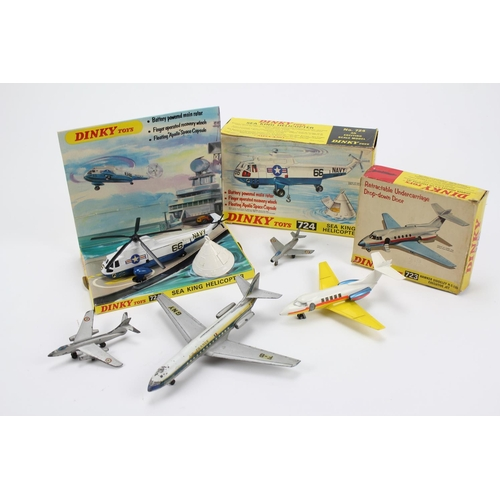 19 - 5 x Dinky Planes to include a Boxed 724 Sea King Helicopter, a boxed 723 Hawker Siddeley & three Fre...