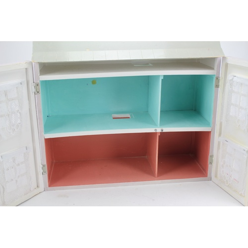 20 - A Scratch Built 1970's Dolls House painted Grey & Pink measuring: 2 Feet x 2 Feet in Excellent Condi...
