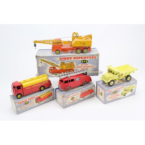 7 - 4 x Dinky Models to include: 972 - Coles Crane, 955 - Fire Engine, 965 - Euclid Dump Truck, 991 - AE...