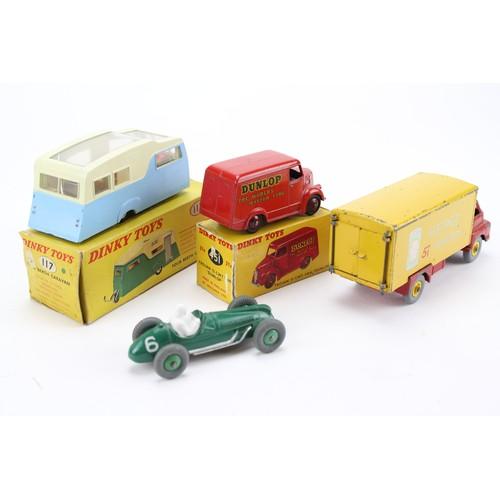 9 - 4 x Dinky Toys to include a Boxed 451/31B - Trojan Van (Dunlop), Boxed 117 - Four Berth Caravan, Unb...
