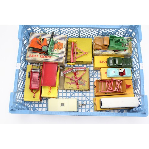 12 - A Tray of 6 Boxed Original 1950's Dinky Toys to include: 401 - Fork Lift Truck, 324 - Hay Rake, 430 ...