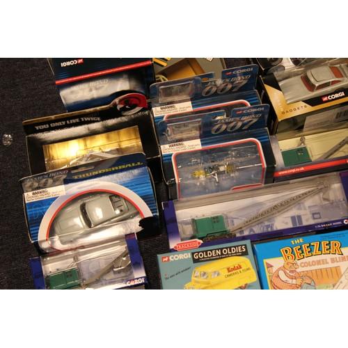 5 - A Large Box of 20+ Corgi Toys to include: James Bond Models, Lady Penelope Fab 1, Trackside models, ...