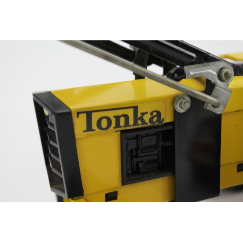 31 - A Scarce Tonka Tractor with front Scoop & Rear Trencher in Yellow & Black along with a small Tonka V...