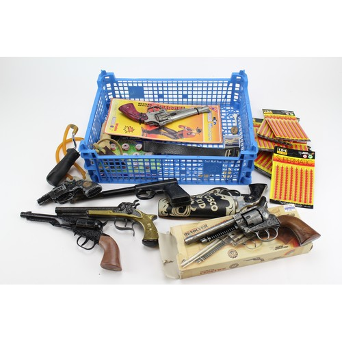 33 - A Tray containing Cap Guns including makers: Lone Star, Cisco Kid, Harrington & Son, etc. along with...