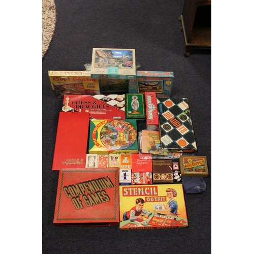 34 - A large box of original games & jigsaws to include Chess, Card Games, Draughts, etc....