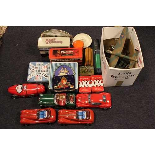36 - A Large box of Tins including Cars, Buses, etc along with some models of planes on stands. AF....