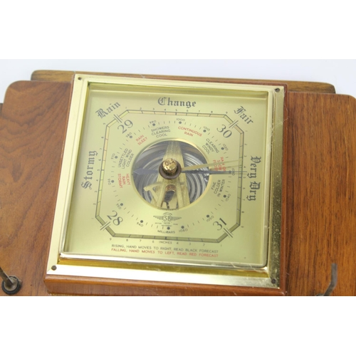128 - A open cased bracket Clock with a Westminster Chime, a modern Wall Clock & a 1950's Hall Barometer w...