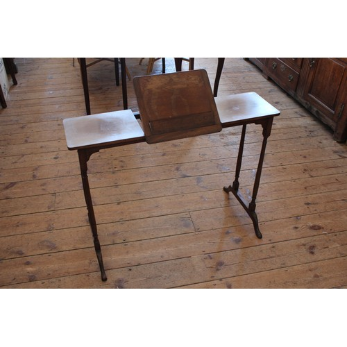 357 - A Lovely Walnut Reading Table. Measuring: 95cms across x 47cms deep x 69cms high....