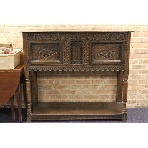 358 - A Victorian Jacobean Design Serving Side Board with Calved Decoration Resting on Squared Legs. Measu...