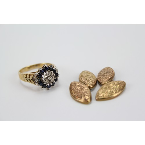 110 - A Lady's Sapphire and Diamond dress ring with engraved shoulders and a pair Gold cufflinks....