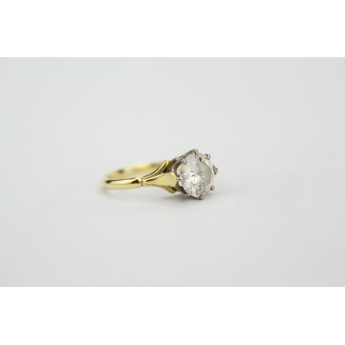 112 - A Ladies Beautiful, Single Stone Brilliant Cut Diamond Ring of Approx 2ct, Set in a Platinum, and 18...