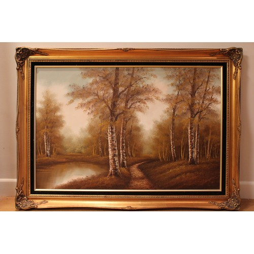 459 - A modern oil on canvas of river and trees in background framed and glazed....