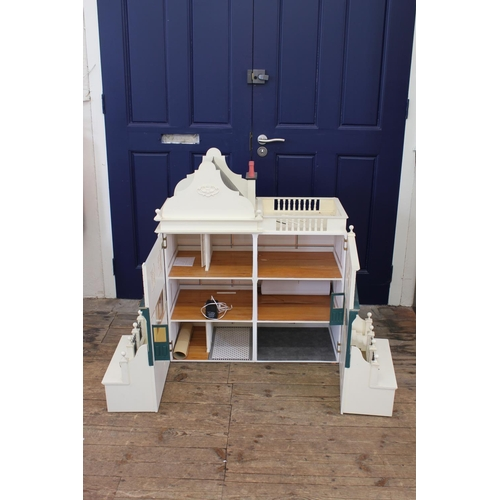 20A - A Large Scratch Built 3 Storey Doll's House designed as a pair of Terrace House/Shop Fronts, Apartme...