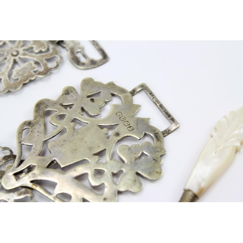 40 - A Silver Plated Nurses Buckle, scent bottle, Ring, MOP Perfume Cork Screw, etc....