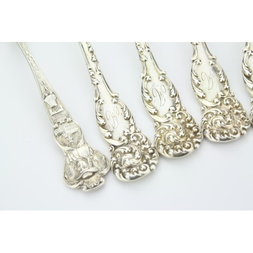 8 - A Set of Six American Silver Rococo Tea and a Philadelphia Pilgrim's Tea Spoons. Weighing: 180 Grams...