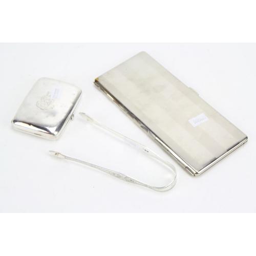 12 - A Pair of Georgian Silver Sugar Tongs, a Silver Cigarette Case and a Plated Long John Cigarette Case...