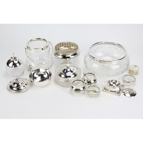 44 - Silver Plated Salt Sellers, Pickle Dish, Salad Bowl, Butter Dish and other items....