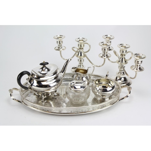 45 - A Pair of Silver Plated Candelabra, Tea Set, Patent Pickle Jar and Tray.....
