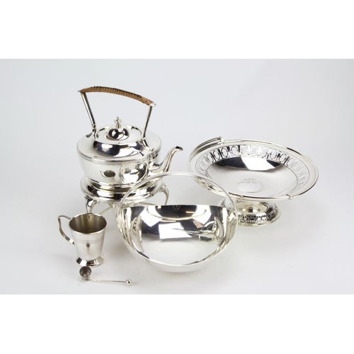 46 - A Plated Arts and Craft Kettle on Stand, Two Plated Bread Baskets and Mug....