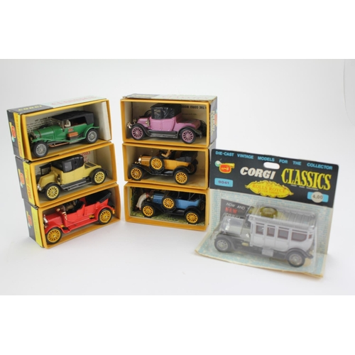 23 - A collection of 7 x Corgi Classic Models from the late 1960's to include 9001 Bentley, 9012 Ford, 90...