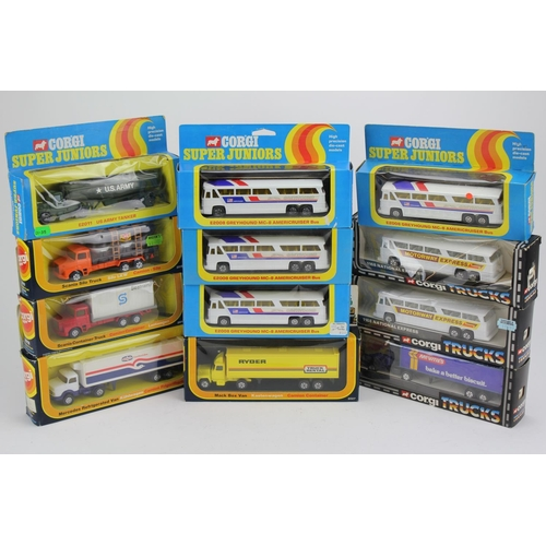 26 - A Collection of 12 x 1970's Corgi Junior models including Trucks, Coaches, Military Tanker, etc. Mod...