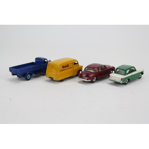 86 - 4 x Dinky Toys to include: Jaguar 3.4, Triumph Herald, Bedford Kodak Van & a Austin Wagon, all in Ex...