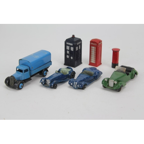 87 - 7 x Dinky Toys to include: Police Box, Telephone Box, Post Box, 25b Wagon in Blue & three 1940's car...