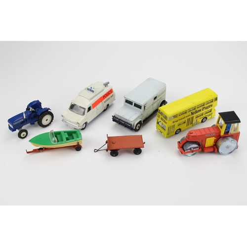 90 - 7 x Dinky Models to include: Brink's Truck, Leyland Tractor, Ford Transit Van, Road Roller, etc alon...