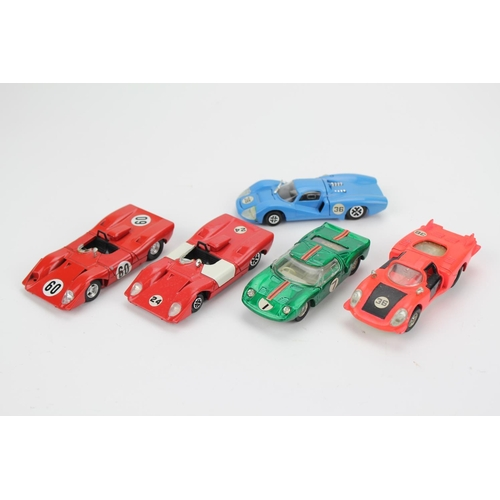 93 - 5 x 1970's Dinky Racing Cars to include: Matra 630, Alfa Romeo, Ford GT40, Ferrari 312 & a French Di...