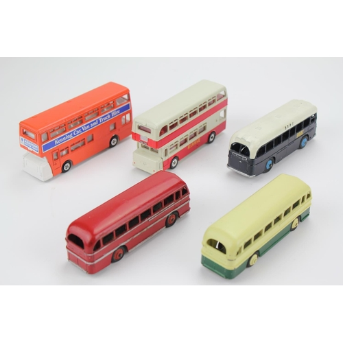 95 - 5 x 1950's/1960's Dinky Buses to include: 2 x Duple Roadmaster's, 2 x Atlantean's & a B.O.A.C. Coach...