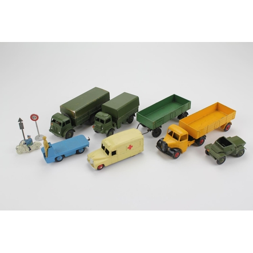 97 - A small collection of 1950's Dinky models to include: Daimler Ambulance, 3 x Military Models, Traile...