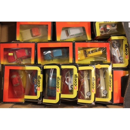 30 - A Collection of 14 x mostly 1980's Corgi Models to include Ford Escort's, Ford Thunderbird, Fiat X1/...
