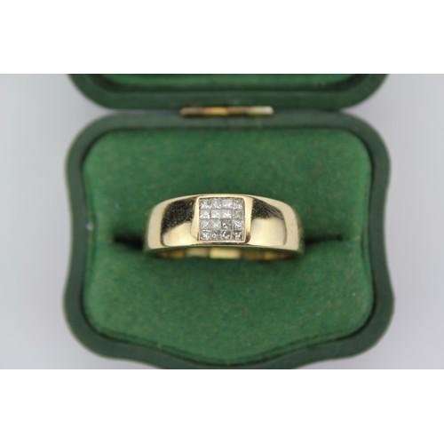 65 - A Ladies or Gentleman's 16 Stone Princess Cut Diamond Ring set in 9ct Gold.  Ring Size: UK V....