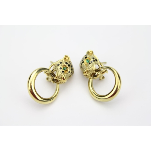 67 - A Pair of 14ct Gold Panther Head Clip-on Earrings....