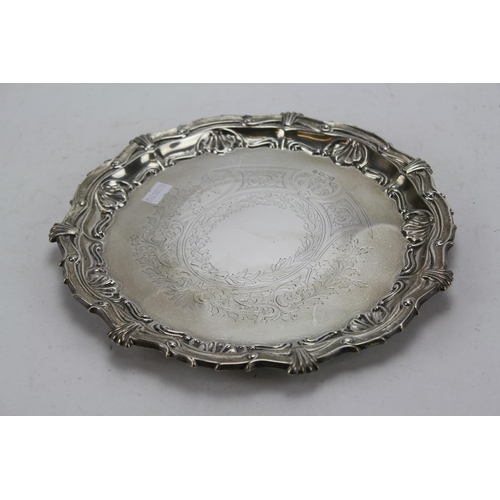 10 - A Victorian Silver Flat Chased Salver with Scrolled Borders. Sheffield O. Weight: 424g.