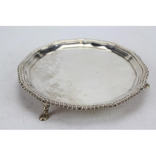 14 - A Modern Silver Waiter's Tray with Gadrooned Edge. London D. Weighing 195 Grams.