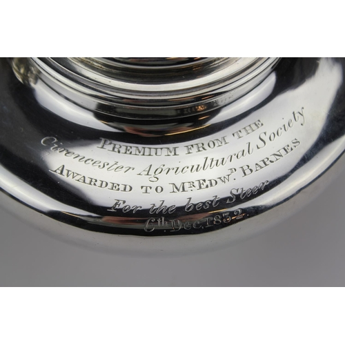 22 - A Georgian Silver Squat Circular Tea Pot with an Agricultural Society Inscription to