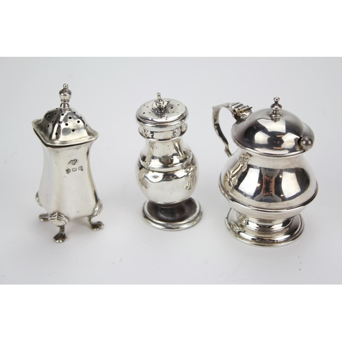 23 - Three Silver items for a Made-Up Condiment Set. Weighing 111 Grams....