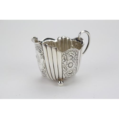 26 - A Lovely Edwardian Silver Cream Jug with Fluted and Embossed Decoration by