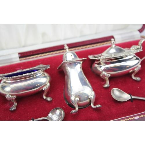 29 - A Three Piece Complete Silver Cruet Set in an Original Moroccan Case.