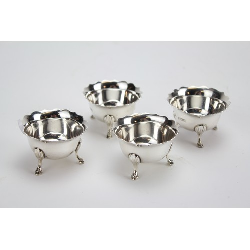 24 - Four Silver Georgian Designed Chippendale Edged Salt Sellers, London I. Weighing 111g...