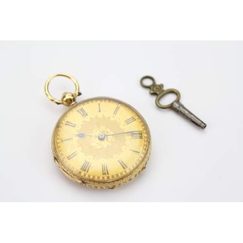 117 - A Ladies 18k Gold Cased Back Winding Watch with Gilded enamelled Chapter Ring and an engraved decora...