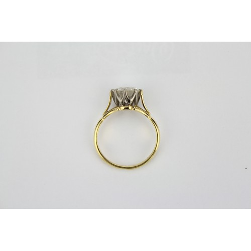 34 - A Ladies Single Stone Brilliant Cut Diamond Ring, Approximately 2 Carats, Set in a Platinum and 18k ...
