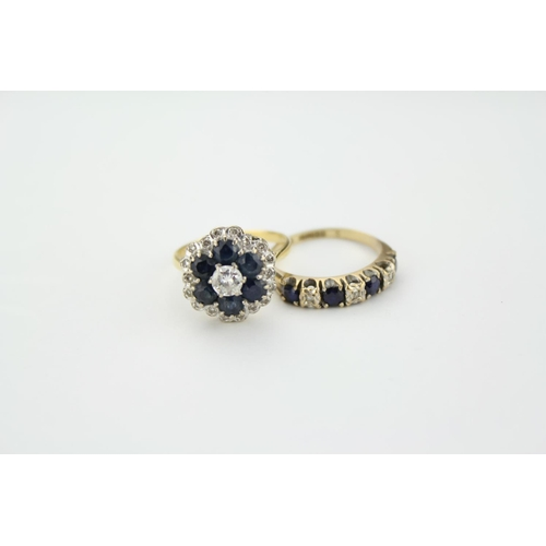 35 - A Ladies Sapphire and Diamond Cluster Ring mounted with a Single Diamond. Ring Size M. Total Weight ...