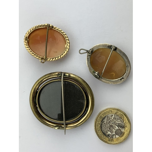 46 - Three Various Cameo Brooches Depicting a Classical Young Lady Reading a Book and Two Others Mounted ...