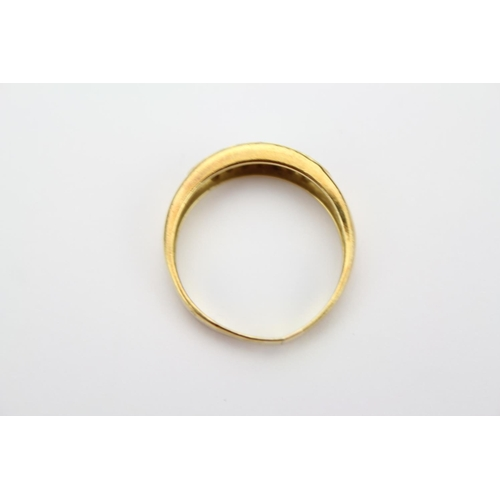 30 - A Ladies Gold Diamond Set Dress Ring, Mounted with Bands of Small Diamonds. Weighing 3.8 Grams....